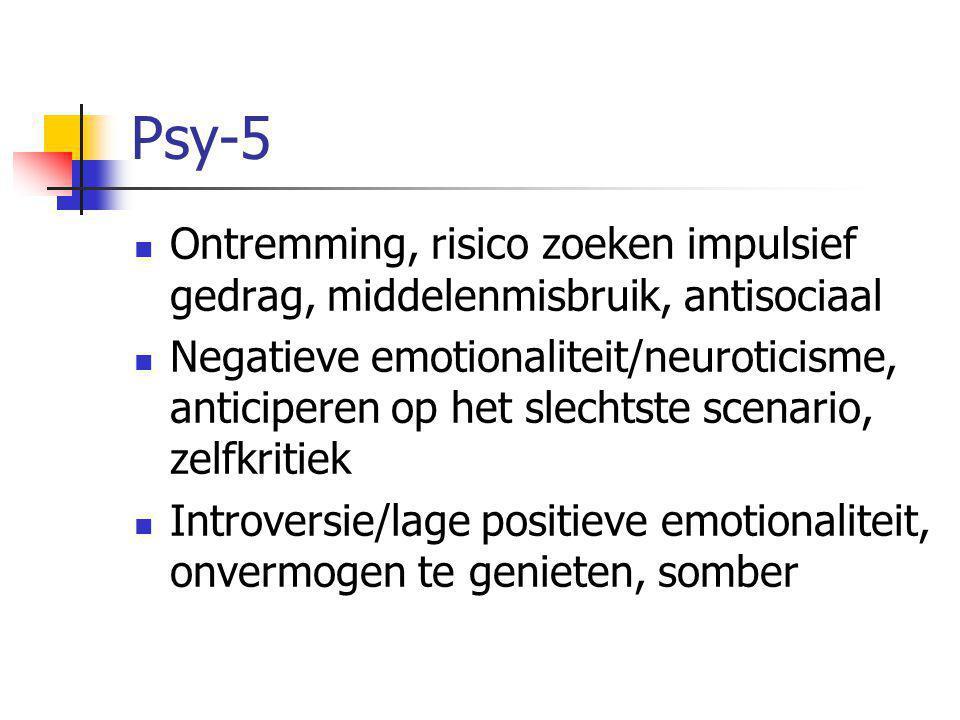 Psy-5  Ontremming, risico zoeken impulsief gedrag, middelenmisbruik, antisociaal  Negatieve emotionaliteit/neuroticisme, anticiperen op het slechtste scenario, zelfkritiek  Introversie/lage positieve emotionaliteit, onvermogen te genieten, somber