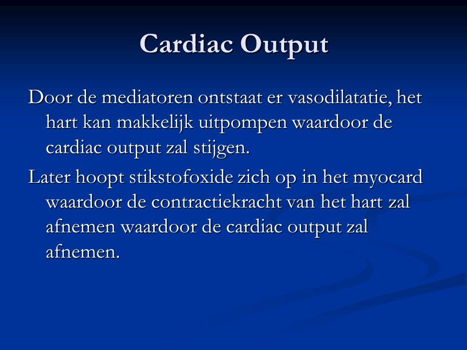 Cardiac Output Door de mediatoren ontstaat er vasodilatatie, het hart kan makkelijk uitpompen waardoor de cardiac output zal stijgen. Later hoopt stik