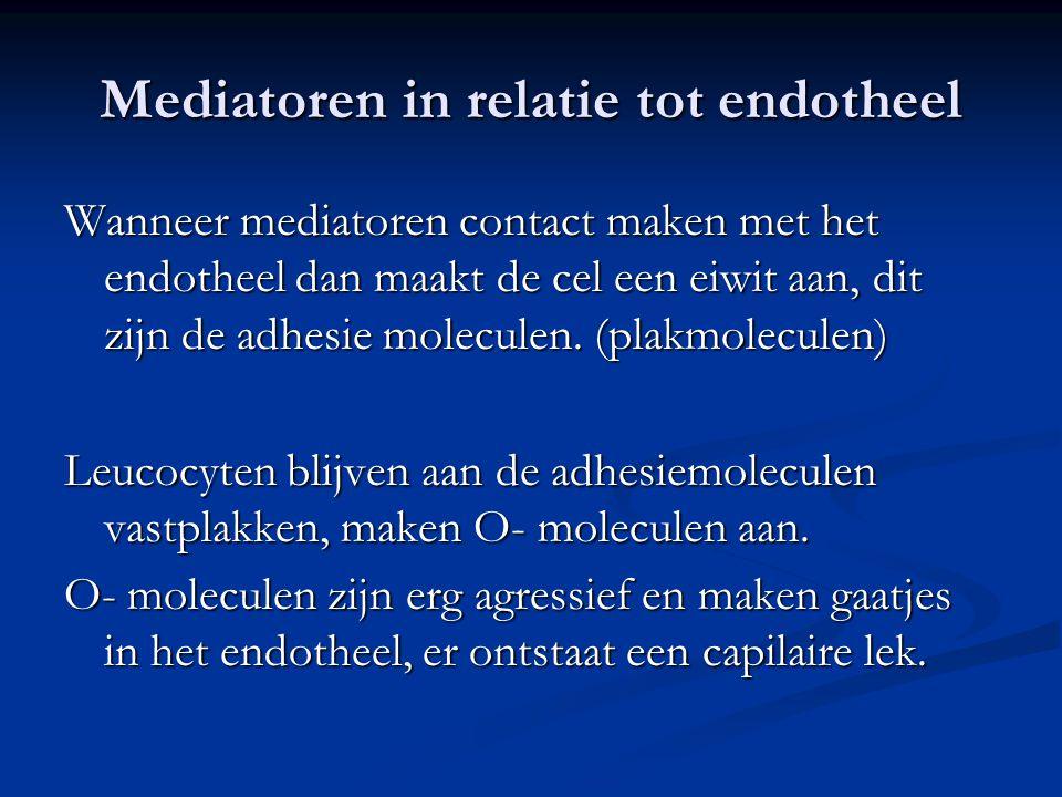 Mediatoren in relatie tot endotheel Wanneer mediatoren contact maken met het endotheel dan maakt de cel een eiwit aan, dit zijn de adhesie moleculen.