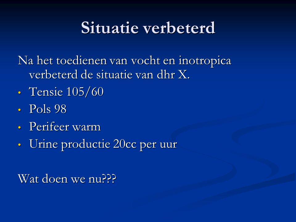 Situatie verbeterd Na het toedienen van vocht en inotropica verbeterd de situatie van dhr X. • Tensie 105/60 • Pols 98 • Perifeer warm • Urine product