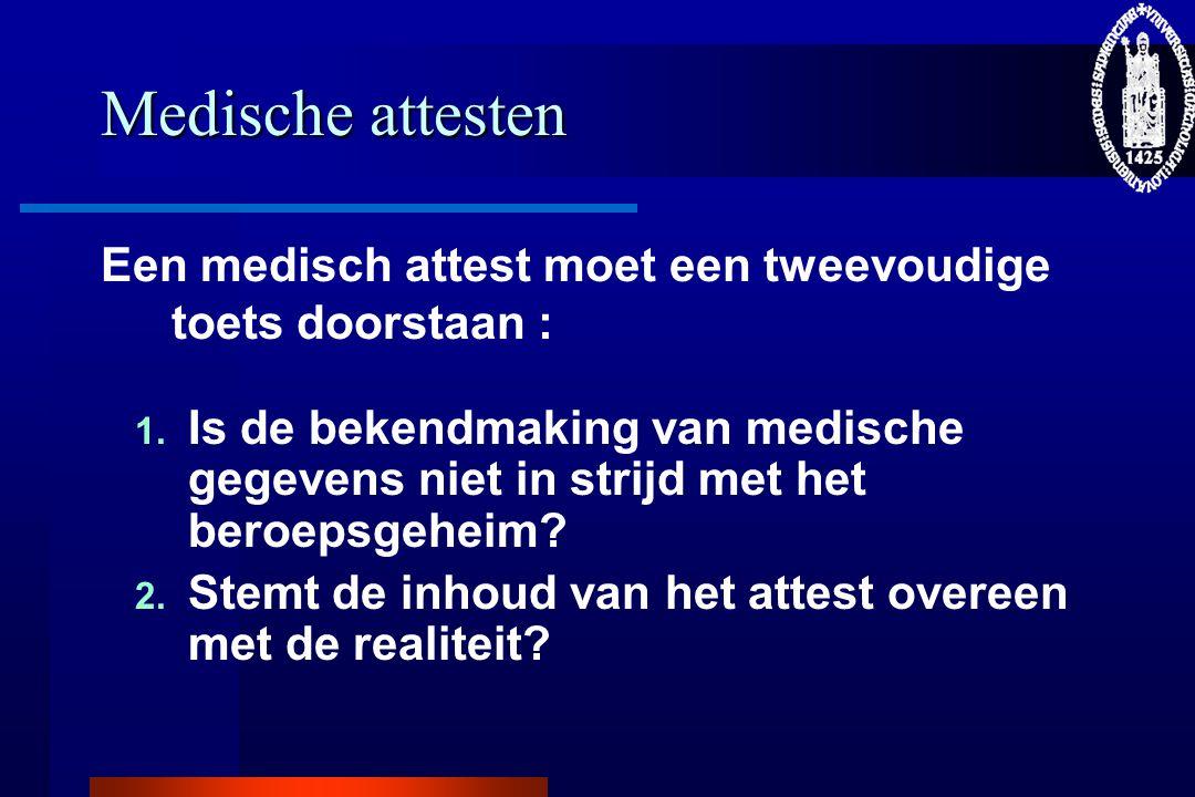 Medische attesten Een medisch attest moet een tweevoudige toets doorstaan : 1. Is de bekendmaking van medische gegevens niet in strijd met het beroeps