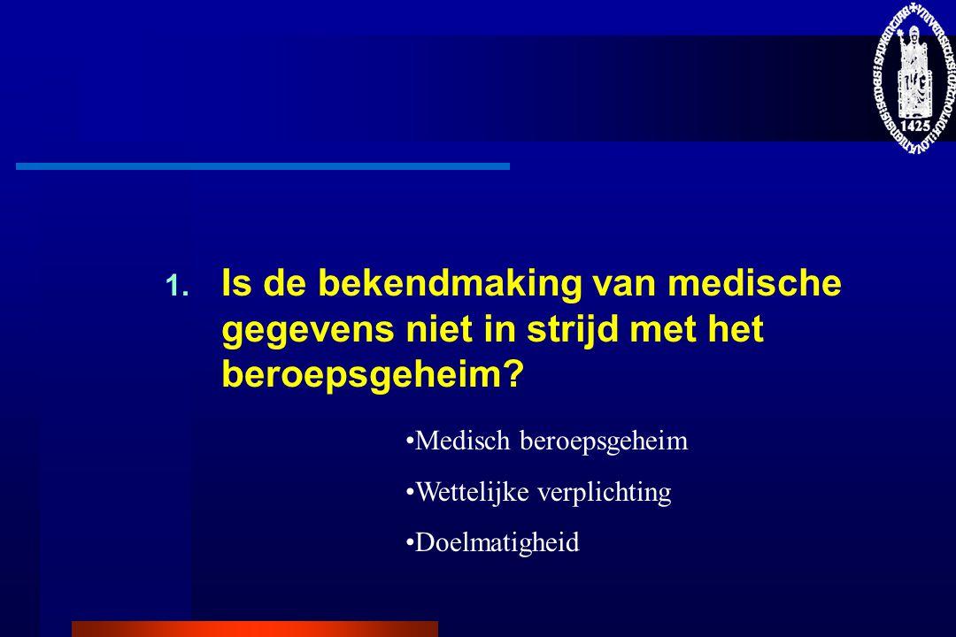 1.Is de bekendmaking van medische gegevens niet in strijd met het beroepsgeheim.