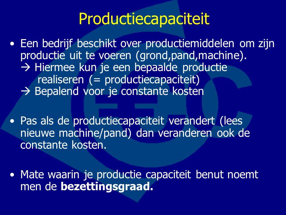 Productiecapaciteit •Een bedrijf beschikt over productiemiddelen om zijn productie uit te voeren (grond,pand,machine).  Hiermee kun je een bepaalde p