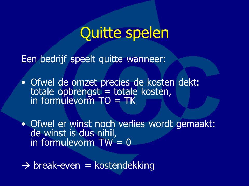 Quitte spelen Een bedrijf speelt quitte wanneer: •Ofwel de omzet precies de kosten dekt: totale opbrengst = totale kosten, in formulevorm TO = TK •Ofw