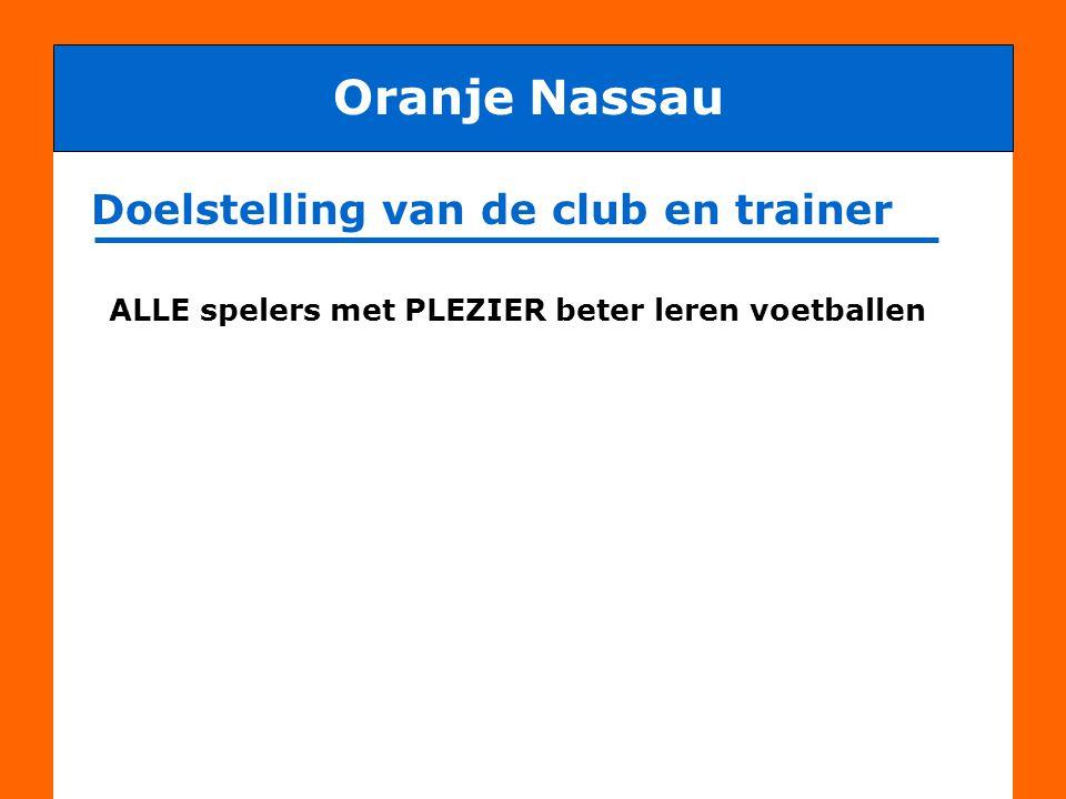 Praktische afspraken Oranje Nassau - afmelden voor training of wedstrijd - hygiëne (douchen) - te laat komen Ook benodigd om doelstelling te halen zijn praktische afspraken: LET OP: VOETBAL IS EEN TEAMSPORT .