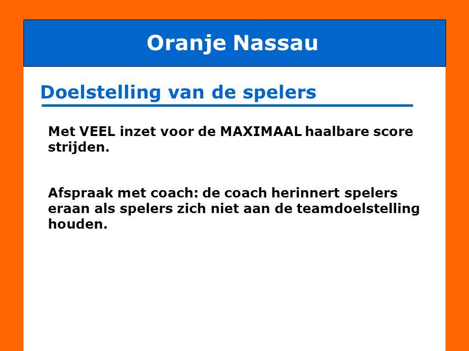 Doel van deze bijeenkomst Oranje Nassau Het doel van deze bijeenkomst is om met alle bij het team betrokken personen af te stemmen hoe de doelstelling van club en spelers gezamenlijk in goede harmonie bereikt kan worden.