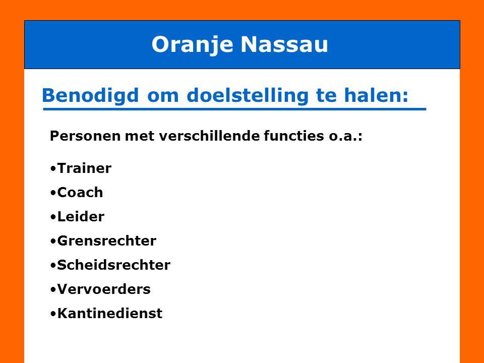Benodigd om doelstelling te halen: Oranje Nassau maar vooral ENTHOUSIASTE, ACTIEVE en BETROKKEN vrijwilligers, dus ook OUDERS
