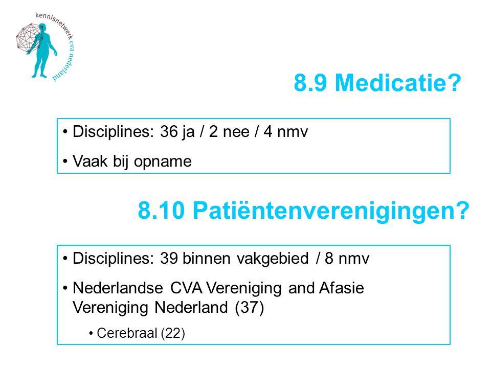 •Disciplines: 36 ja / 2 nee / 4 nmv •Vaak bij opname 8.9 Medicatie? 8.10 Patiëntenverenigingen? •Disciplines: 39 binnen vakgebied / 8 nmv •Nederlandse