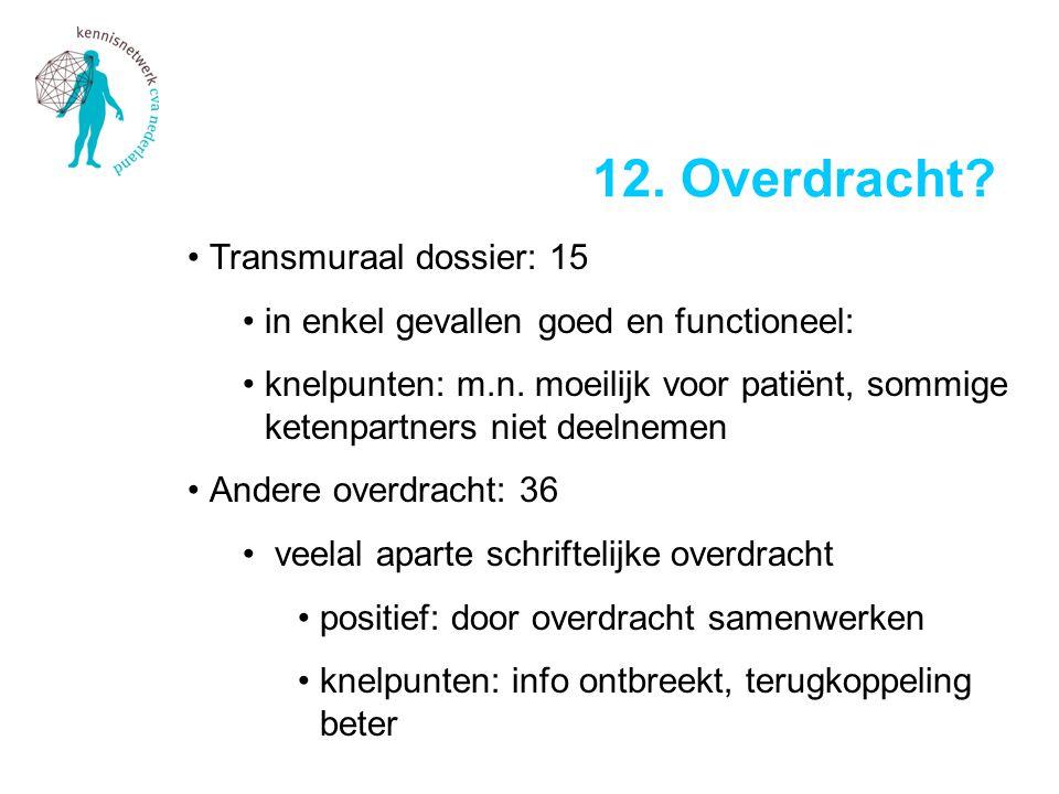 •Transmuraal dossier: 15 •in enkel gevallen goed en functioneel: •knelpunten: m.n. moeilijk voor patiënt, sommige ketenpartners niet deelnemen •Andere