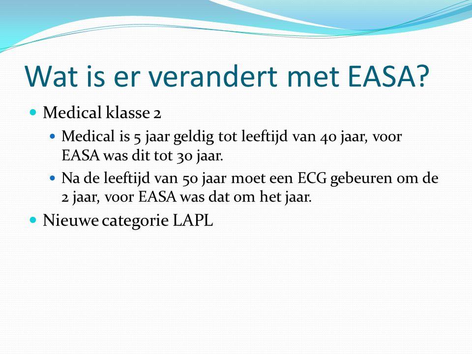 Wat is er verandert met EASA?  Medical klasse 2  Medical is 5 jaar geldig tot leeftijd van 40 jaar, voor EASA was dit tot 30 jaar.  Na de leeftijd