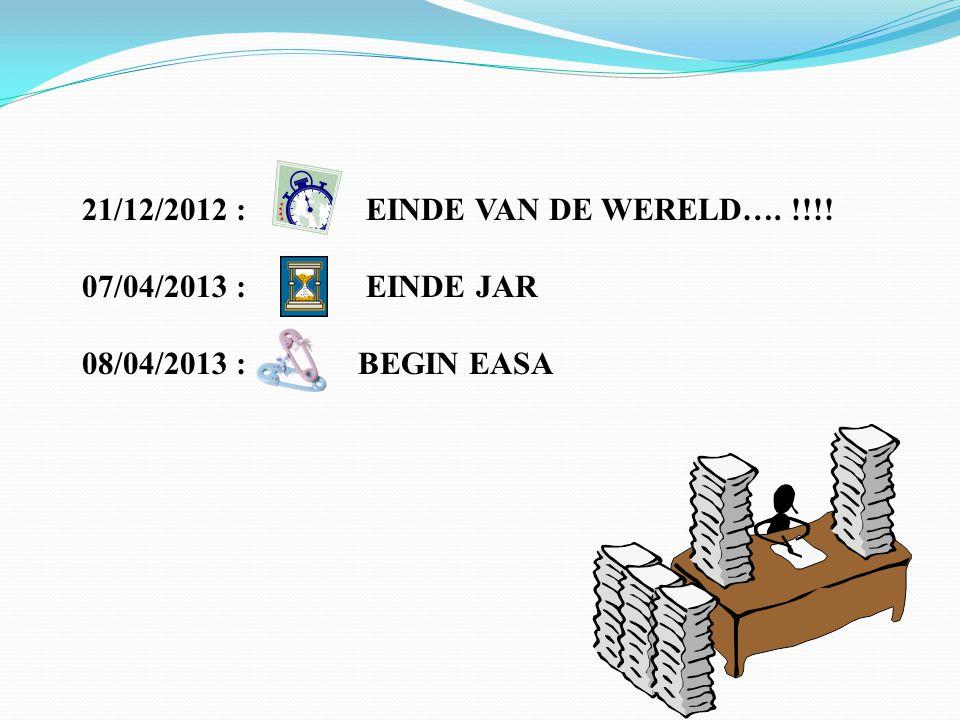 21/12/2012 : EINDE VAN DE WERELD…. !!!! 07/04/2013 : EINDE JAR 08/04/2013 : BEGIN EASA