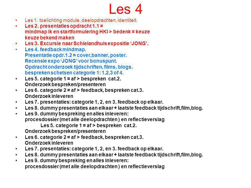 Les 4 •Les 1. toelichting module, deelopdrachten, identiteit. •Les 2. presentaties opdracht 1.1 = mindmap ik en startformulering HKI > bedenk = keuze