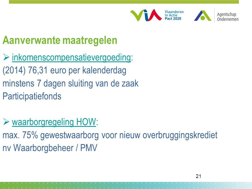 Aanverwante maatregelen  inkomenscompensatievergoeding: (2014) 76,31 euro per kalenderdag minstens 7 dagen sluiting van de zaak Participatiefonds  waarborgregeling HOW: max.