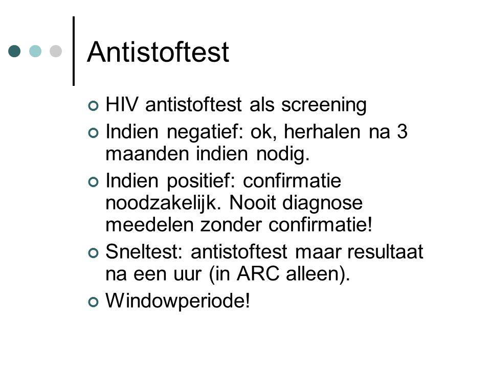 Antistoftest HIV antistoftest als screening Indien negatief: ok, herhalen na 3 maanden indien nodig. Indien positief: confirmatie noodzakelijk. Nooit
