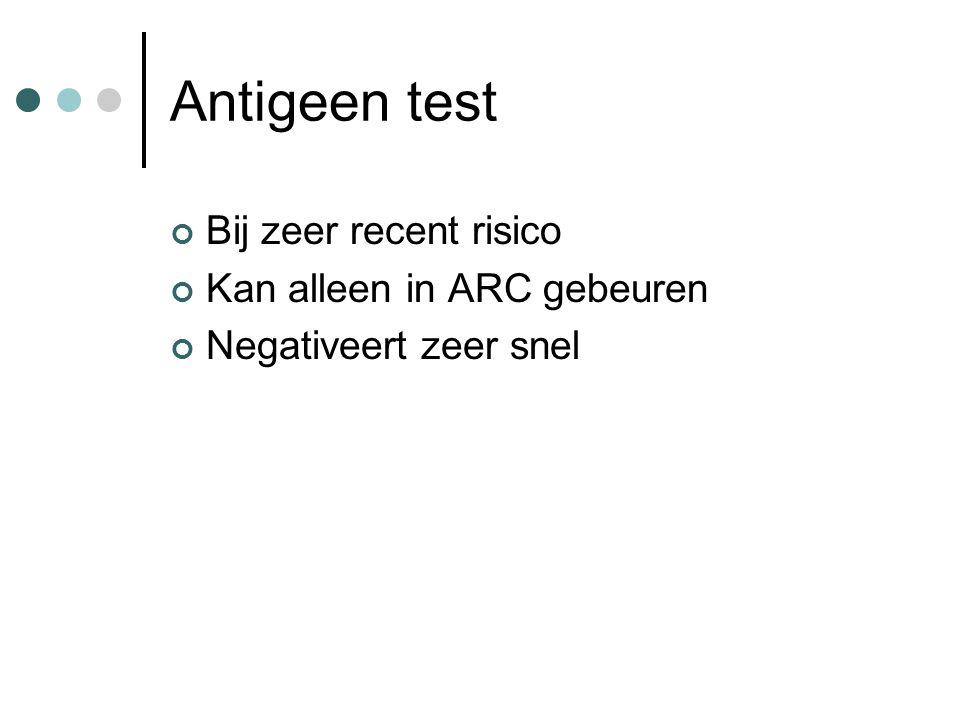 Antigeen test Bij zeer recent risico Kan alleen in ARC gebeuren Negativeert zeer snel