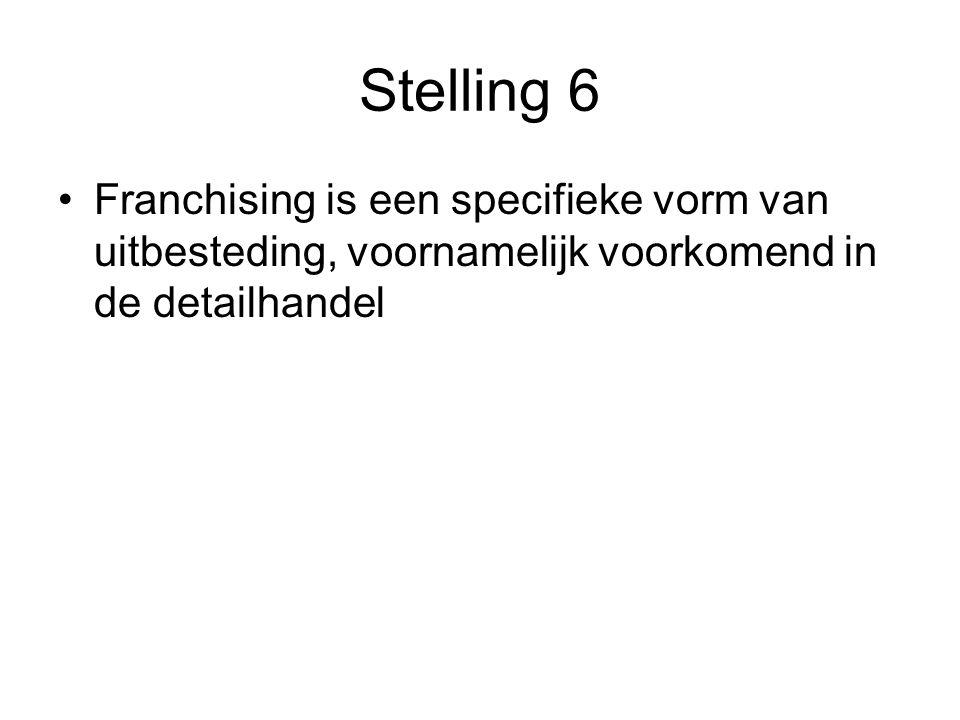Stelling 6 •Franchising is een specifieke vorm van uitbesteding, voornamelijk voorkomend in de detailhandel
