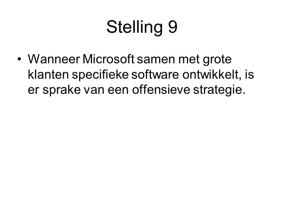 Stelling 9 •Wanneer Microsoft samen met grote klanten specifieke software ontwikkelt, is er sprake van een offensieve strategie.