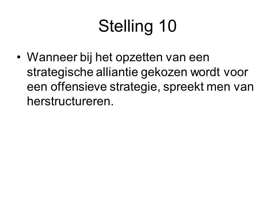 Stelling 10 •Wanneer bij het opzetten van een strategische alliantie gekozen wordt voor een offensieve strategie, spreekt men van herstructureren.