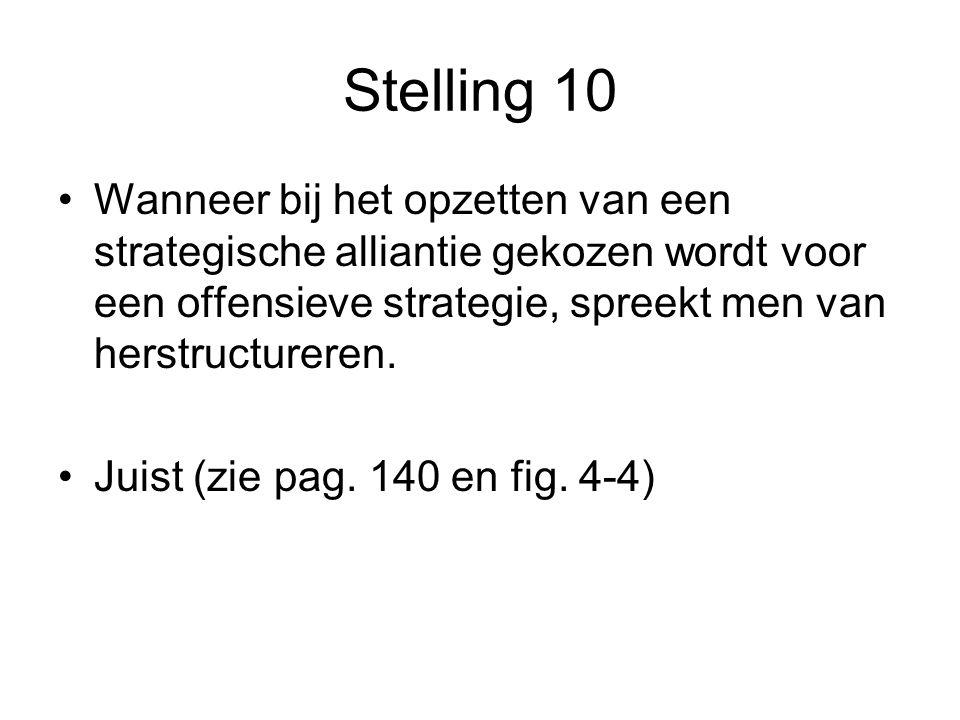 Stelling 10 •Wanneer bij het opzetten van een strategische alliantie gekozen wordt voor een offensieve strategie, spreekt men van herstructureren. •Ju