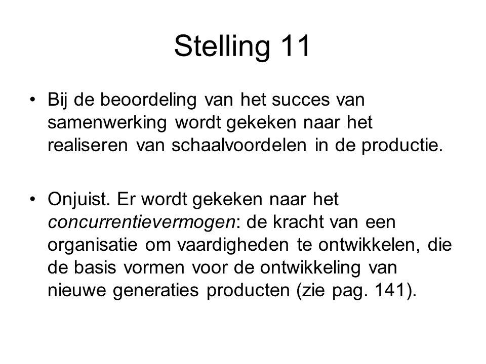 Stelling 11 •Bij de beoordeling van het succes van samenwerking wordt gekeken naar het realiseren van schaalvoordelen in de productie. •Onjuist. Er wo