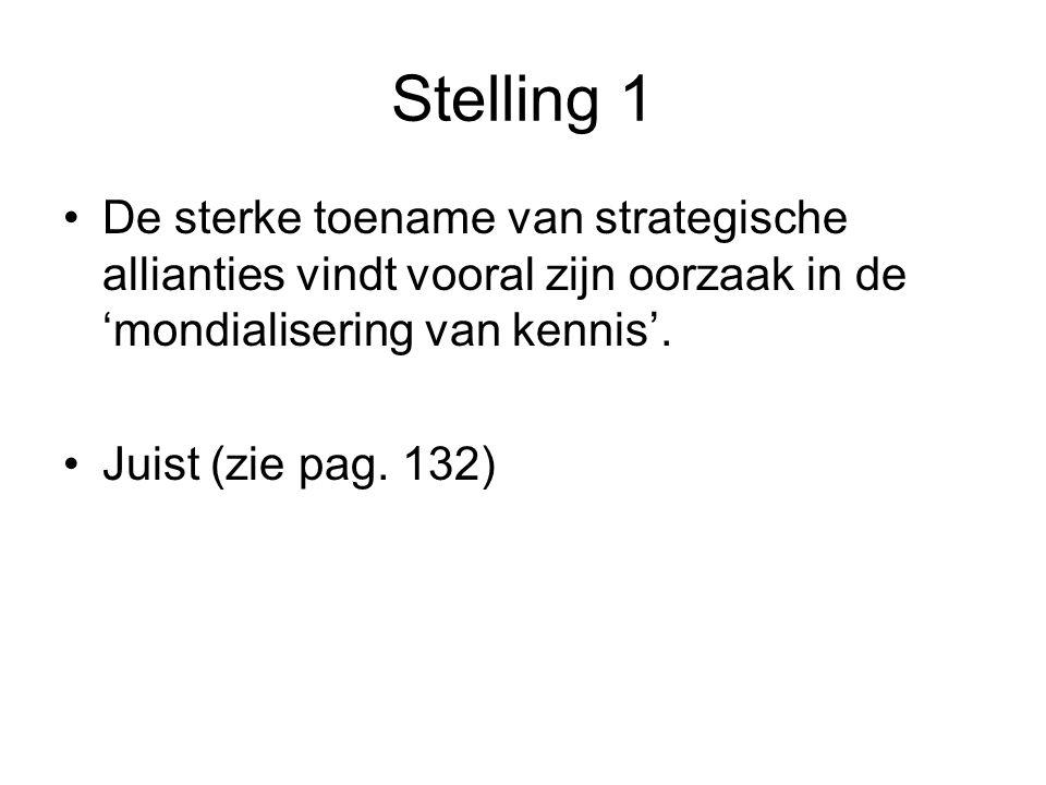 Stelling 1 •De sterke toename van strategische allianties vindt vooral zijn oorzaak in de 'mondialisering van kennis'. •Juist (zie pag. 132)