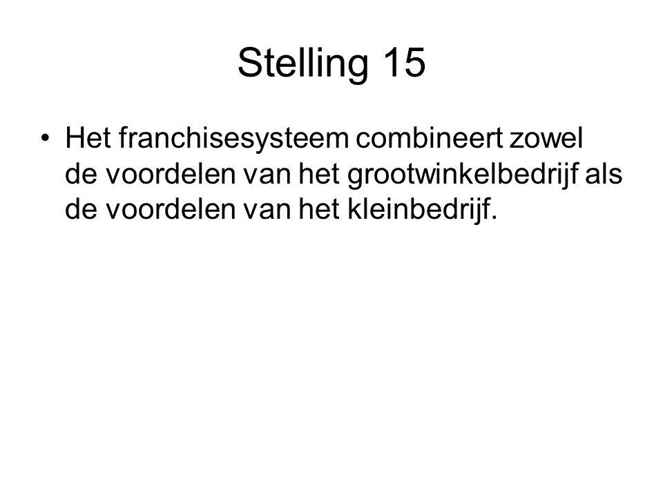 Stelling 15 •Het franchisesysteem combineert zowel de voordelen van het grootwinkelbedrijf als de voordelen van het kleinbedrijf.