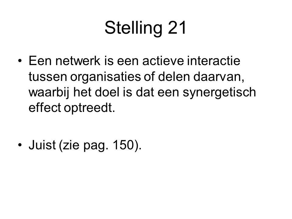 Stelling 21 •Een netwerk is een actieve interactie tussen organisaties of delen daarvan, waarbij het doel is dat een synergetisch effect optreedt. •Ju