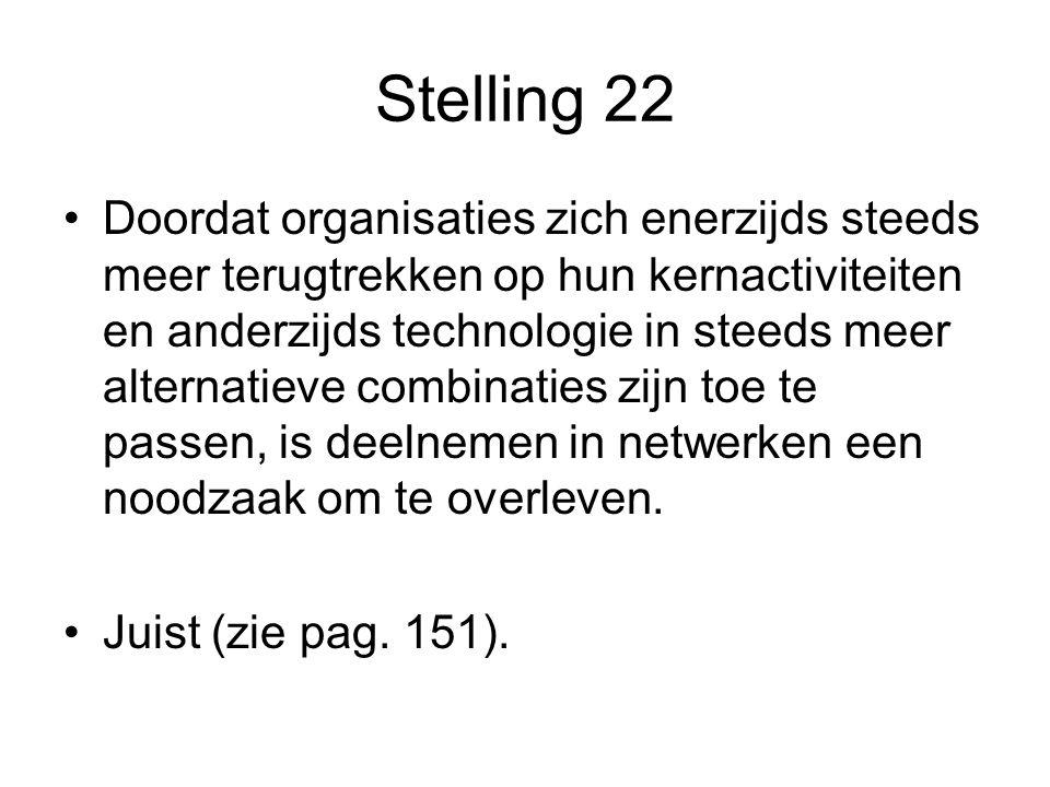Stelling 22 •Doordat organisaties zich enerzijds steeds meer terugtrekken op hun kernactiviteiten en anderzijds technologie in steeds meer alternatiev