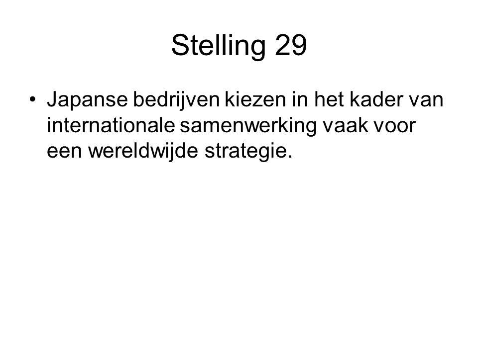 Stelling 29 •Japanse bedrijven kiezen in het kader van internationale samenwerking vaak voor een wereldwijde strategie.