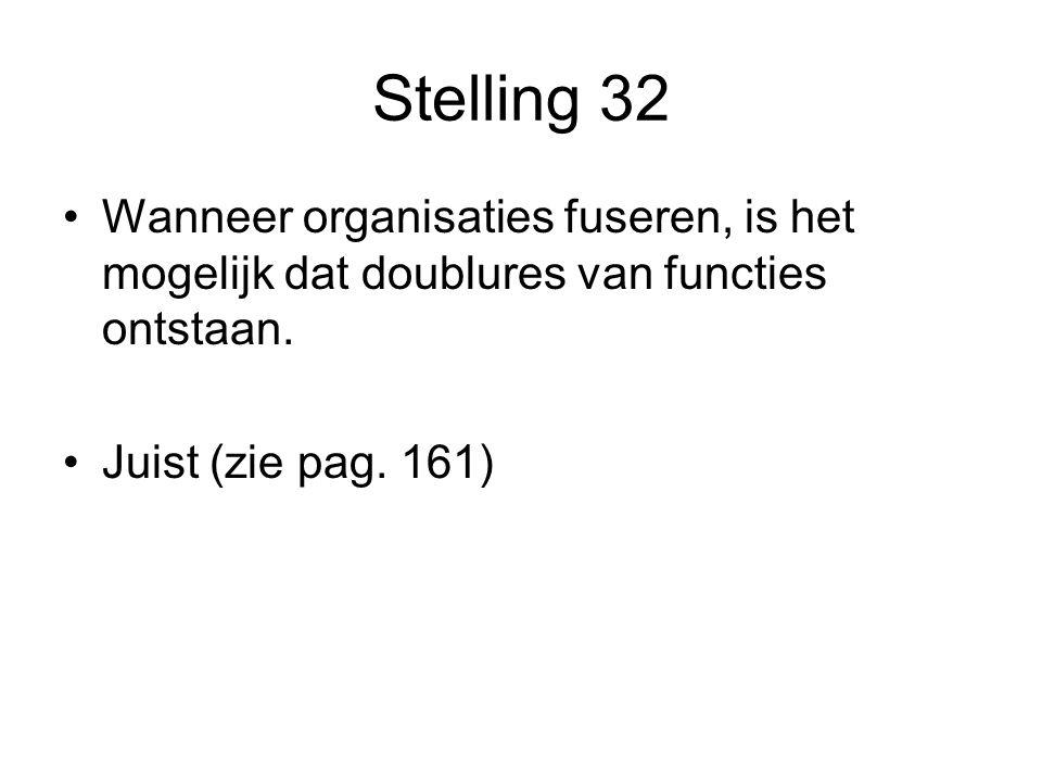Stelling 32 •Wanneer organisaties fuseren, is het mogelijk dat doublures van functies ontstaan. •Juist (zie pag. 161)