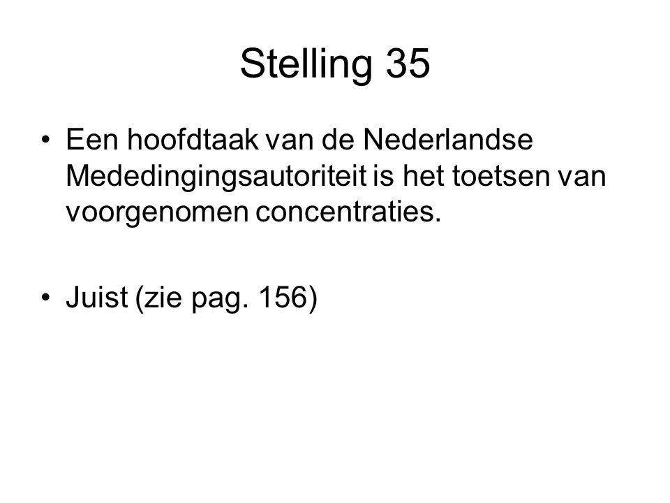 Stelling 35 •Een hoofdtaak van de Nederlandse Mededingingsautoriteit is het toetsen van voorgenomen concentraties. •Juist (zie pag. 156)