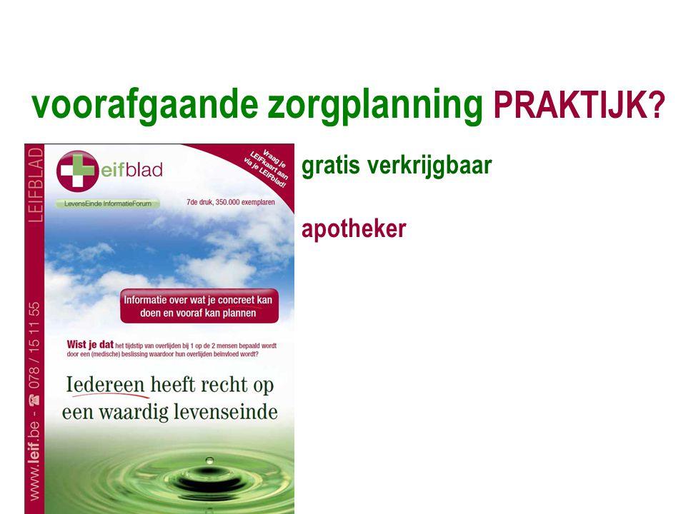 voorafgaande zorgplanning PRAKTIJK? gratis verkrijgbaar apotheker