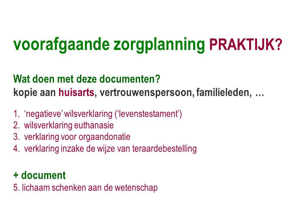 voorafgaande zorgplanning PRAKTIJK? Wat doen met deze documenten? kopie aan huisarts, vertrouwenspersoon, familieleden, … 1.'negatieve' wilsverklaring