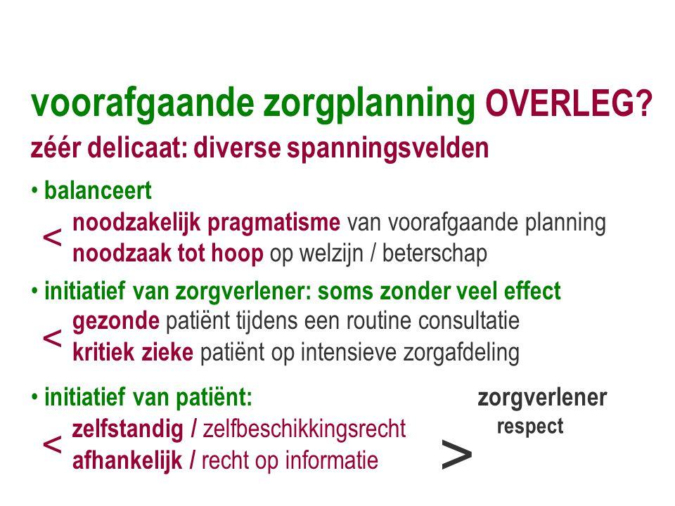 voorafgaande zorgplanning OVERLEG? zéér delicaat: diverse spanningsvelden • balanceert noodzakelijk pragmatisme van voorafgaande planning noodzaak tot