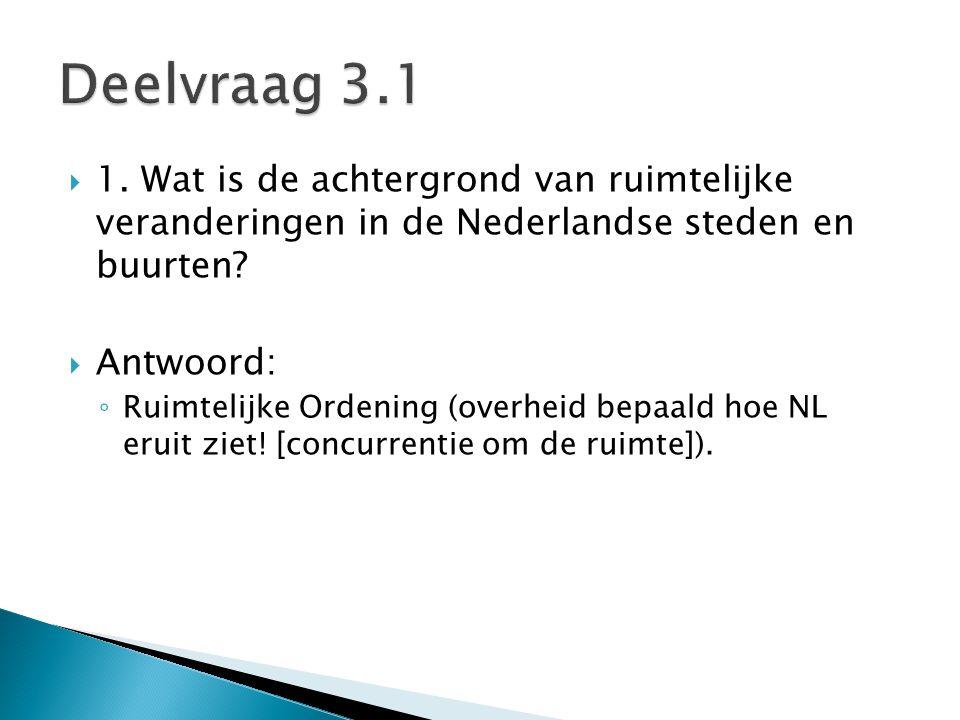  1. Wat is de achtergrond van ruimtelijke veranderingen in de Nederlandse steden en buurten?  Antwoord: ◦ Ruimtelijke Ordening (overheid bepaald hoe
