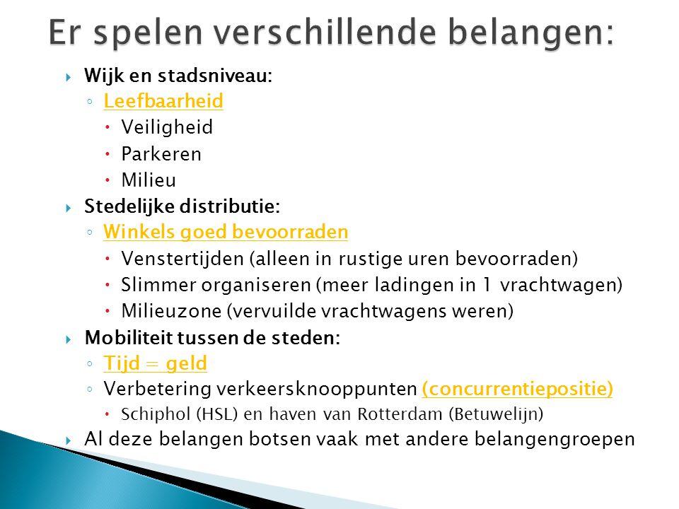  Wijk en stadsniveau: ◦ Leefbaarheid  Veiligheid  Parkeren  Milieu  Stedelijke distributie: ◦ Winkels goed bevoorraden  Venstertijden (alleen in