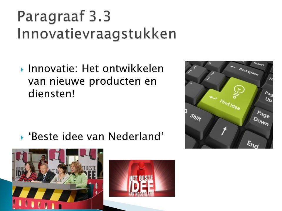  Innovatie: Het ontwikkelen van nieuwe producten en diensten!  'Beste idee van Nederland'