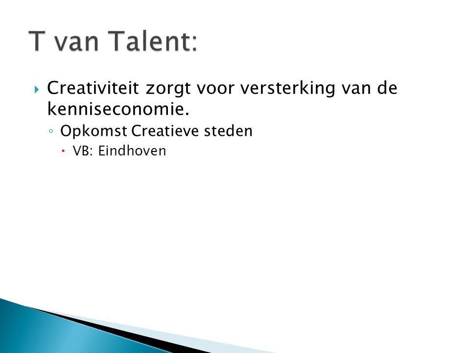  Creativiteit zorgt voor versterking van de kenniseconomie. ◦ Opkomst Creatieve steden  VB: Eindhoven