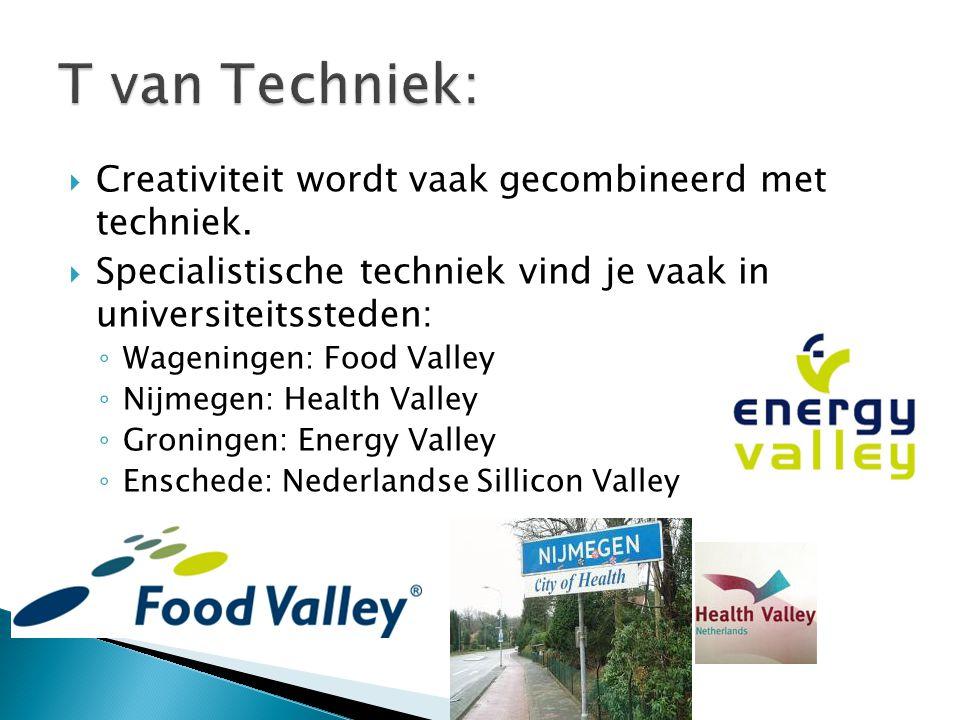  Creativiteit wordt vaak gecombineerd met techniek.  Specialistische techniek vind je vaak in universiteitssteden: ◦ Wageningen: Food Valley ◦ Nijme