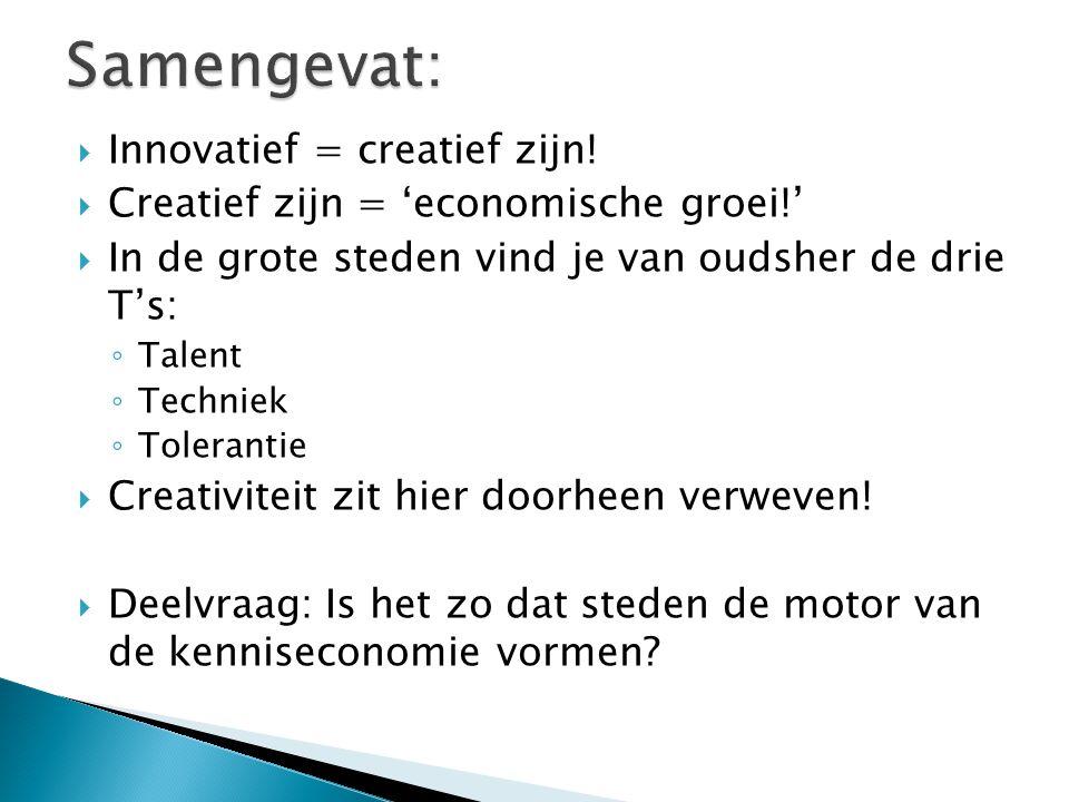  Innovatief = creatief zijn!  Creatief zijn = 'economische groei!'  In de grote steden vind je van oudsher de drie T's: ◦ Talent ◦ Techniek ◦ Toler