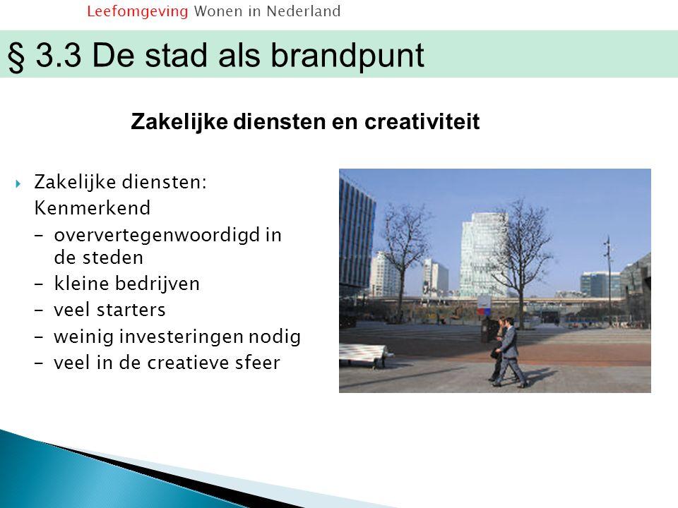  Zakelijke diensten: Kenmerkend -oververtegenwoordigd in de steden -kleine bedrijven -veel starters -weinig investeringen nodig -veel in de creatieve