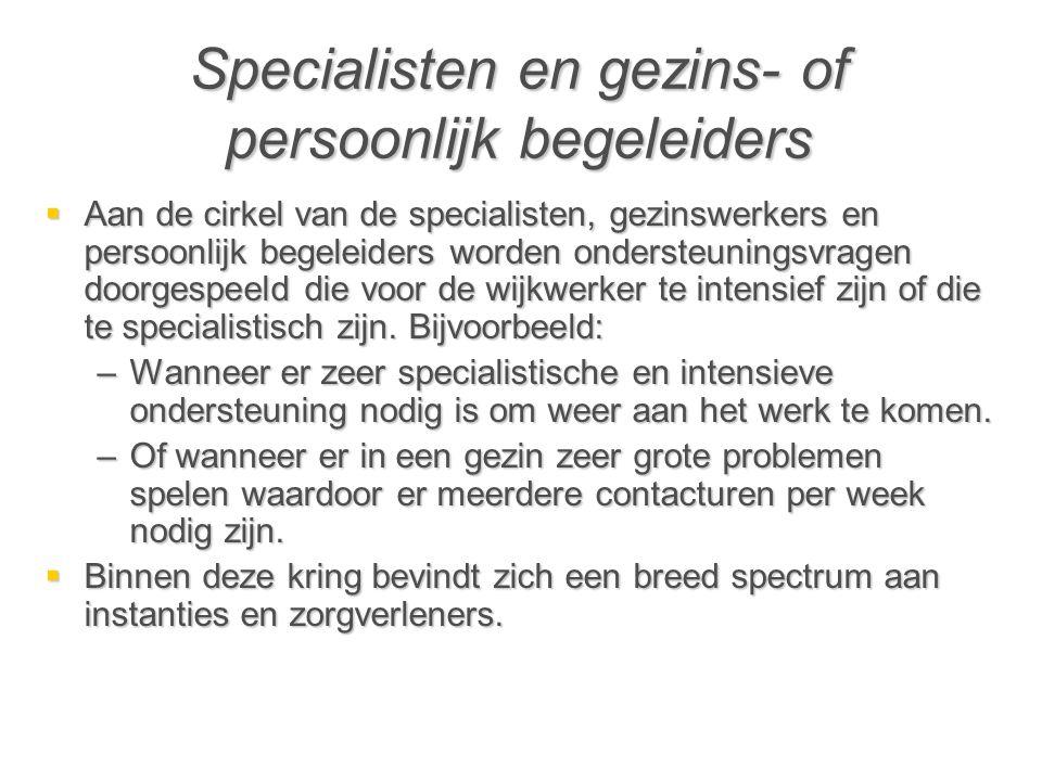 Specialisten en gezins- of persoonlijk begeleiders  Aan de cirkel van de specialisten, gezinswerkers en persoonlijk begeleiders worden ondersteuningsvragen doorgespeeld die voor de wijkwerker te intensief zijn of die te specialistisch zijn.