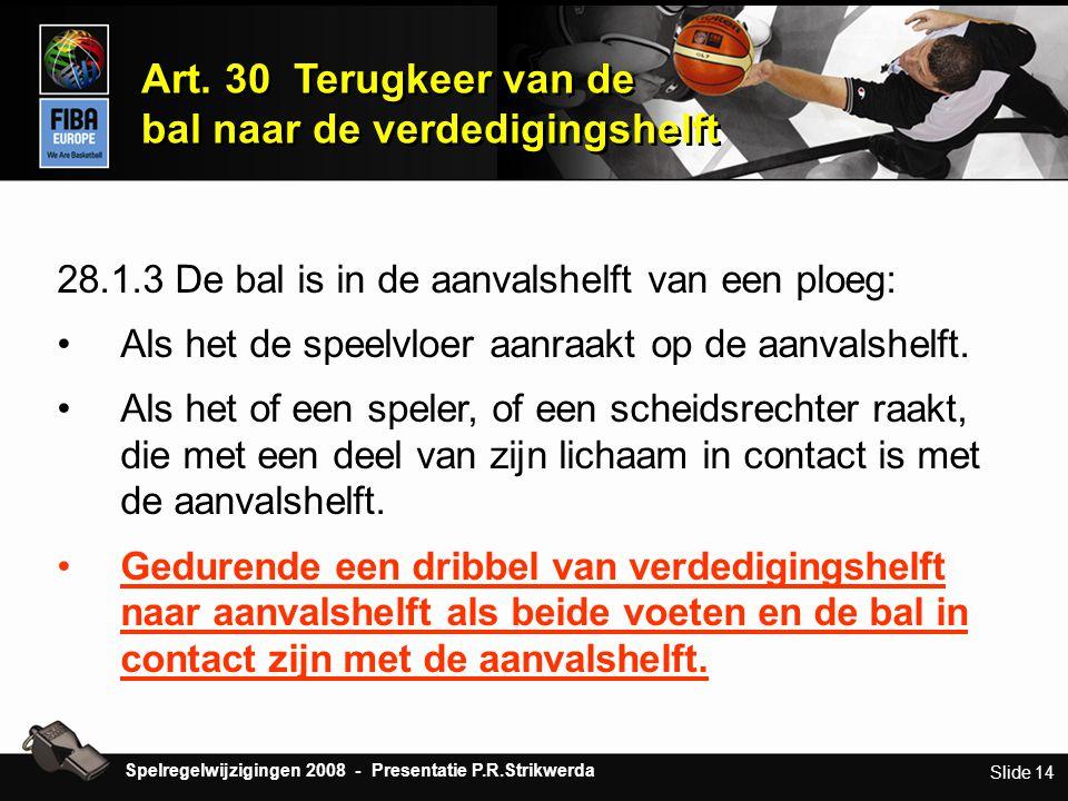 Slide 14 28.1.3 De bal is in de aanvalshelft van een ploeg: •Als het de speelvloer aanraakt op de aanvalshelft. •Als het of een speler, of een scheids