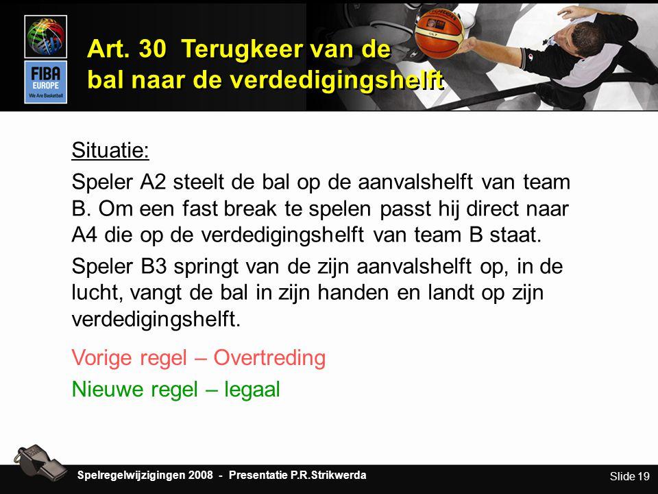 Slide 19 Art. 30 Terugkeer van de bal naar de verdedigingshelft Art. 30 Terugkeer van de bal naar de verdedigingshelft Situatie: Speler A2 steelt de b
