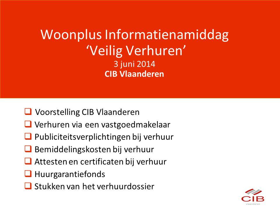 Woonplus Informatienamiddag 'Veilig Verhuren' 3 juni 2014 CIB Vlaanderen  Voorstelling CIB Vlaanderen  Verhuren via een vastgoedmakelaar  Publicite