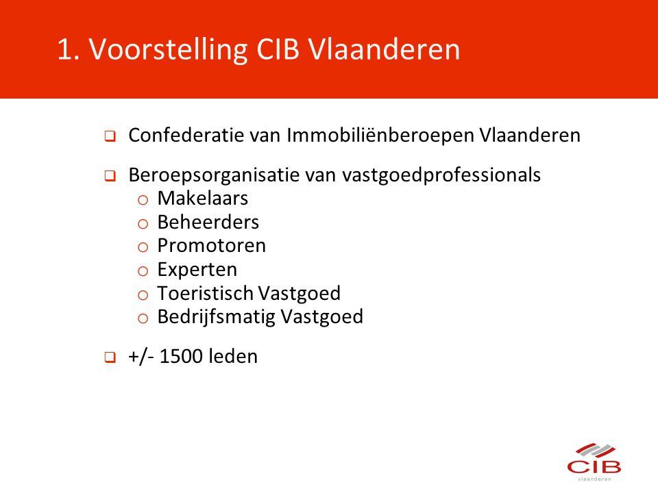  Confederatie van Immobiliënberoepen Vlaanderen  Beroepsorganisatie van vastgoedprofessionals o Makelaars o Beheerders o Promotoren o Experten o Toe