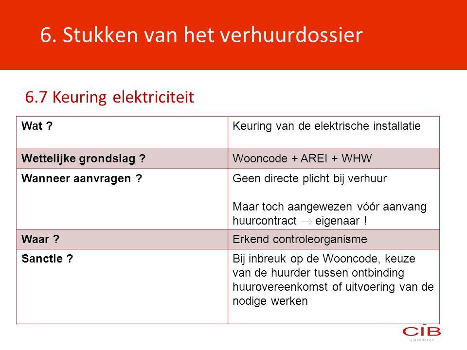 6. Stukken van het verhuurdossier Wat ?Keuring van de elektrische installatie Wettelijke grondslag ?Wooncode + AREI + WHW Wanneer aanvragen ?Geen dire