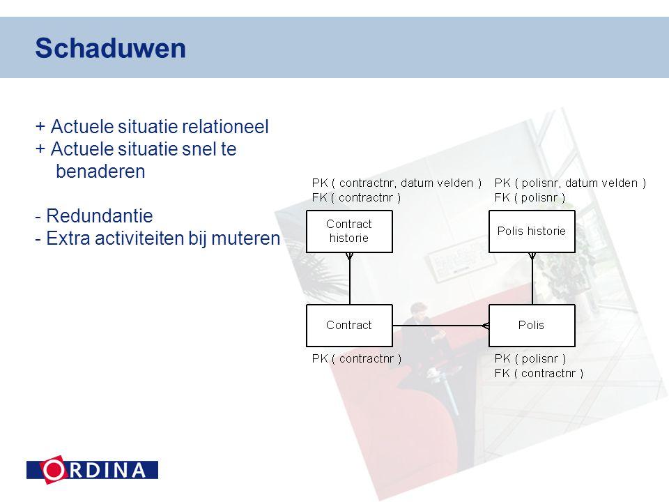 Schaduwen + Actuele situatie relationeel + Actuele situatie snel te benaderen - Redundantie - Extra activiteiten bij muteren