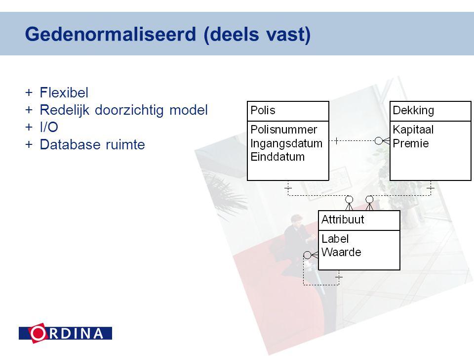 Gedenormaliseerd (deels vast) +Flexibel +Redelijk doorzichtig model +I/O +Database ruimte