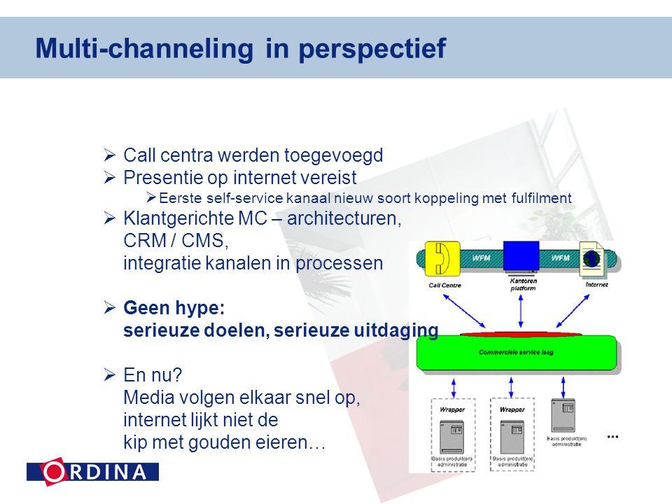 Multi-channeling in perspectief  Call centra werden toegevoegd  Presentie op internet vereist  Eerste self-service kanaal nieuw soort koppeling met fulfilment  Klantgerichte MC – architecturen, CRM / CMS, integratie kanalen in processen  Geen hype: serieuze doelen, serieuze uitdaging  En nu.